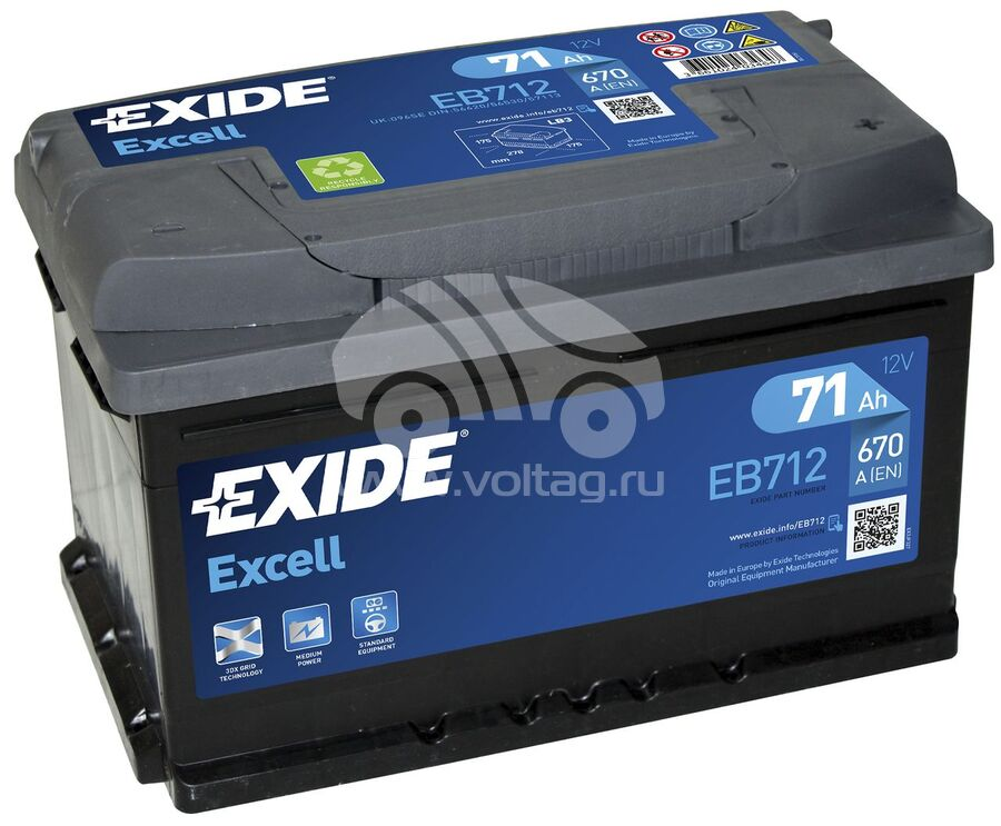 АккумуляторExide EB712 (ATE0712XE)