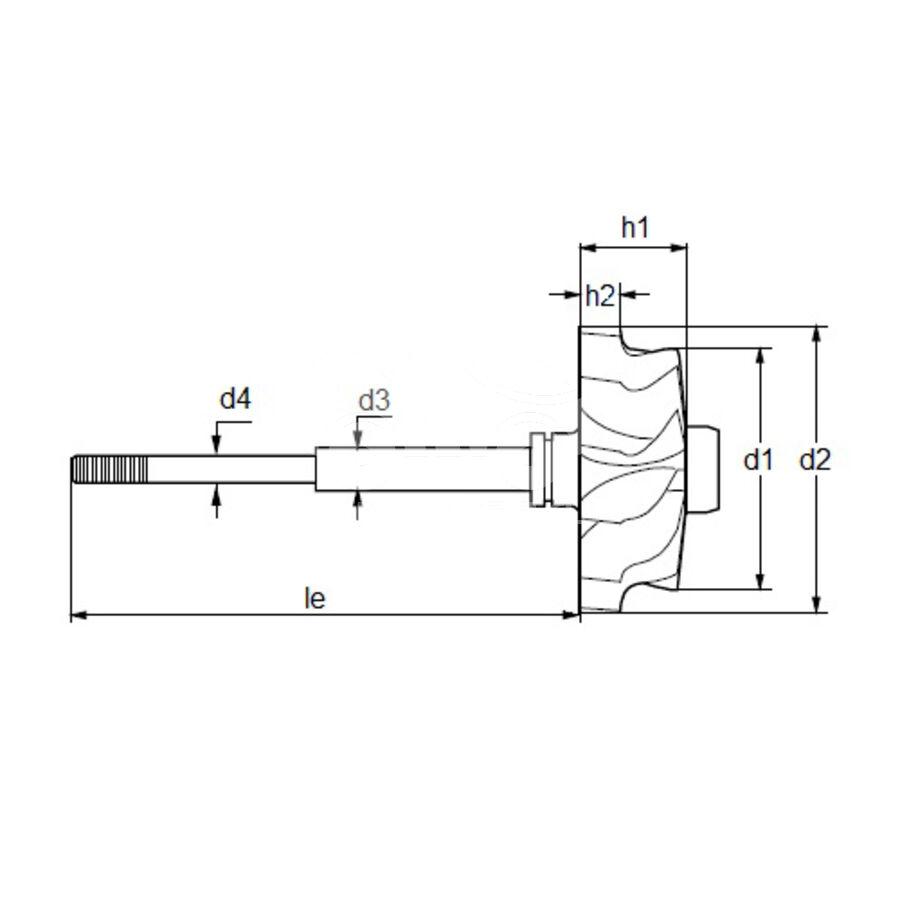 Вал турбокомпрессора MST0044