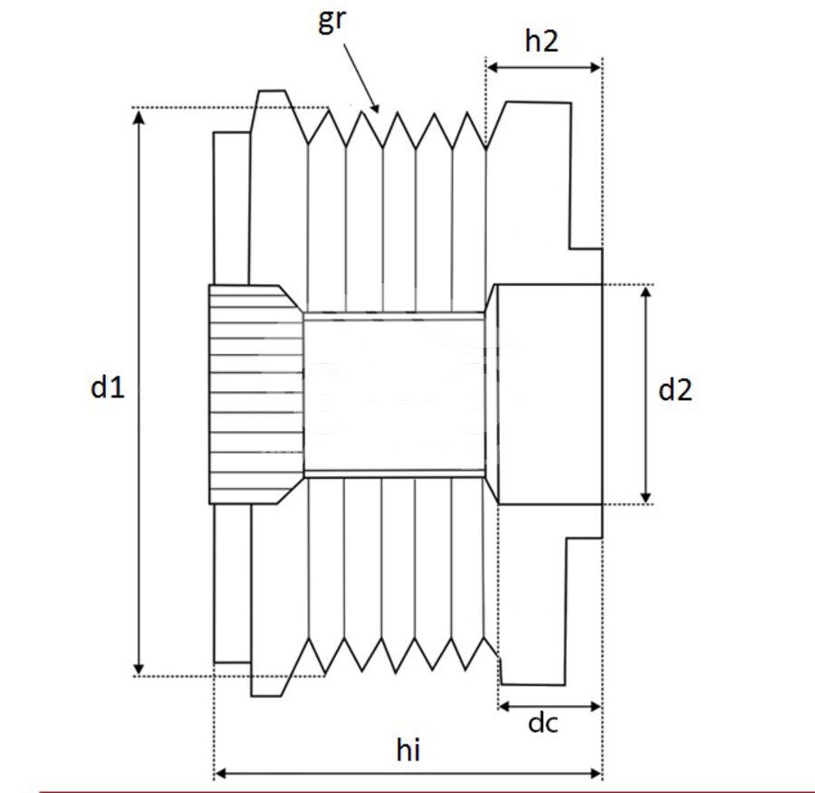 Шкив генератора обгонныйKRAUF APB0716PN (APB0716PN)